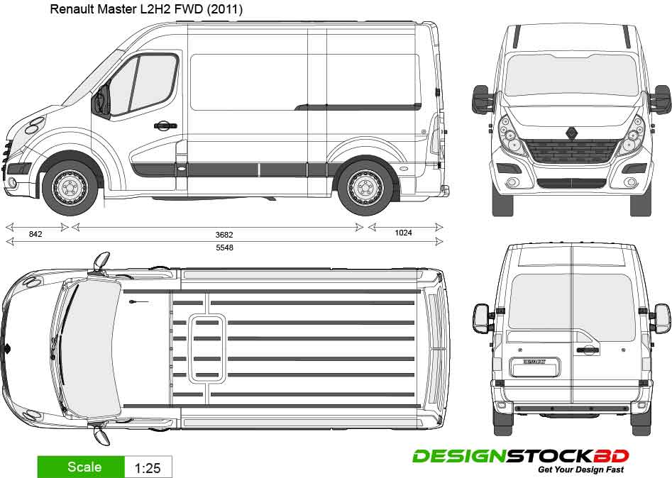 Renault Master L2h2 Fwd  2011  Template  Outline  Blueprint